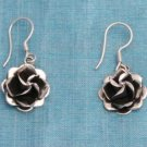 Sterling Silver Rose Dangle Earrings Taxco Mexico 925