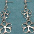 Sterling Silver Double Flower Power Dangle Earrings 925