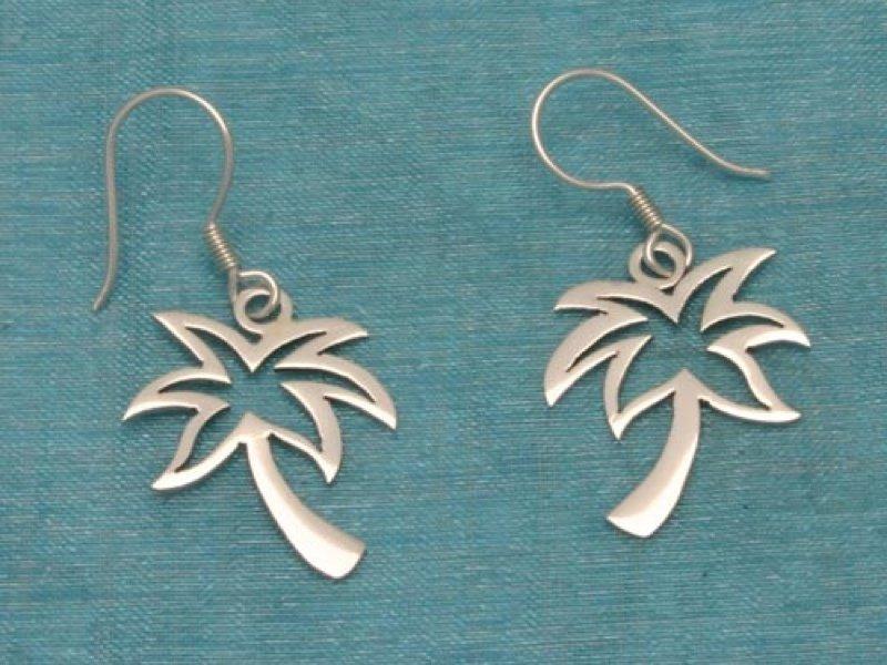 Sterling Silver Palm Tree Dangle Earrings .925 Taxco Mx