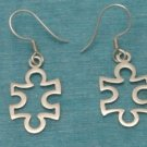 Sterling Silver Puzzle Pice Dangle Earrings .925 Taxco