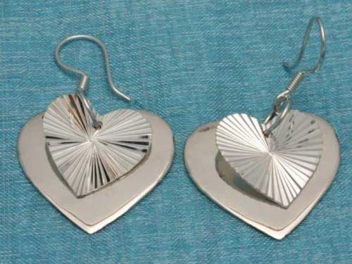 Sterling Silver Heart Dangle Earrings .925 Taxco Mexico