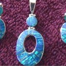 Sterling Silver Natural Blue Opal Earrings & Pendant