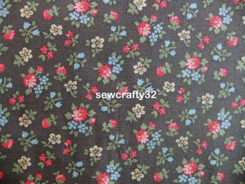 Bath Flowers Brown FQ ~ Cath Kidston Cotton Duck Fabric
