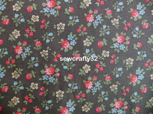 Bath Flowers Brown 1 M ~ Cath Kidston Cotton Duck Fabric