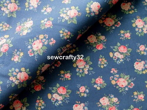 Bunch Flowers Navy FQ ~ Cath Kidston Cotton Duck Fabric