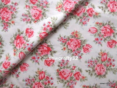 English Rose White FQ ~ Cath Kidston Cotton Duck Fabric