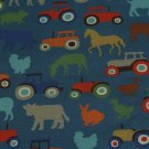 Tractor & Farmyard Blue Cotton Duck 1 M ~ Cath Kidston