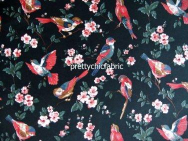 British Bird Black Cotton Velvet 1 M ~ Cath Kidston