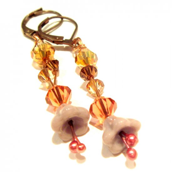 Coppery Violet Lily Long Earrings with Swarovski Crystals