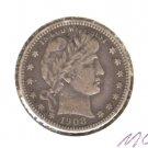 1908D (VF) BARBER QUARTER (M02) SILVER