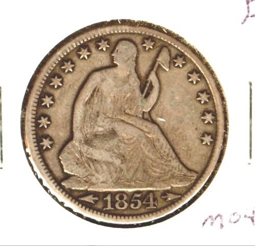 1854O (F) SEATED LIBERTY HALF DOLLAR (M04) ARROWS