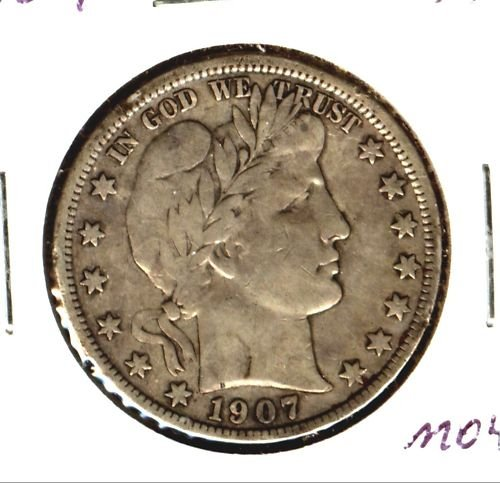 1907 (VF) BARBER HALF DOLLAR (M04)