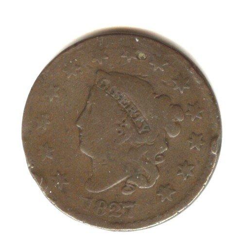 1827 (VG+) LARGE CENT (B34)
