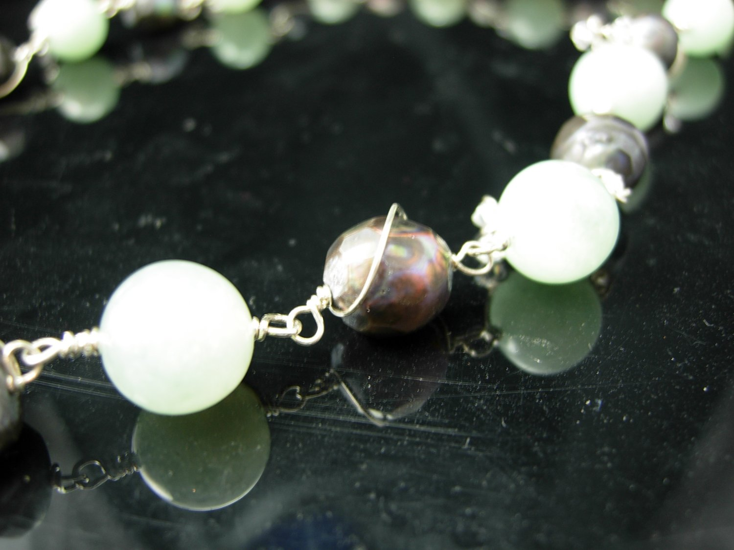 Cluster Jade and Chocolate Pearls