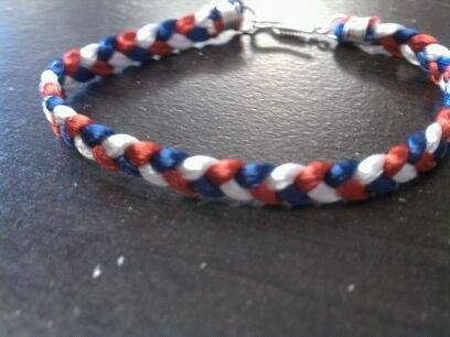 Braided Bracelet-Red/White/Blue
