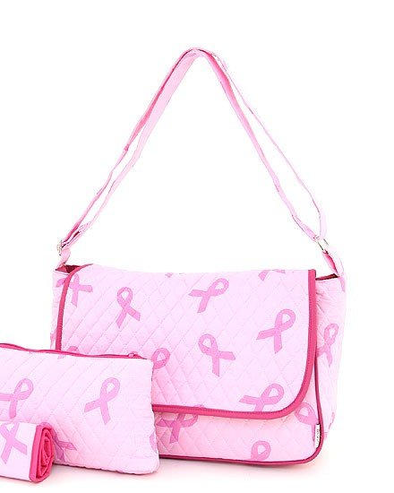 QUILTED PINK RIBBON PRINT 3PC DIAPER BAG
