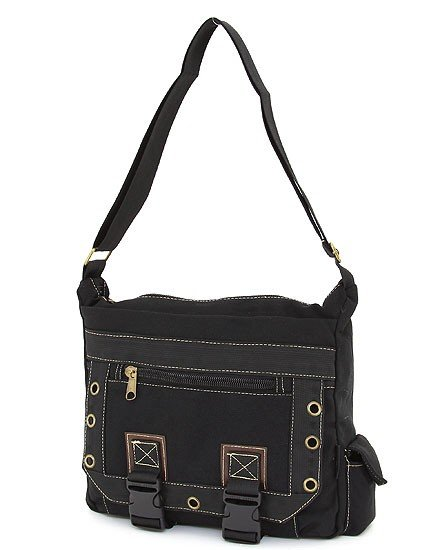 SOLID PATTERN MESSENGER BAG  (BLACK)