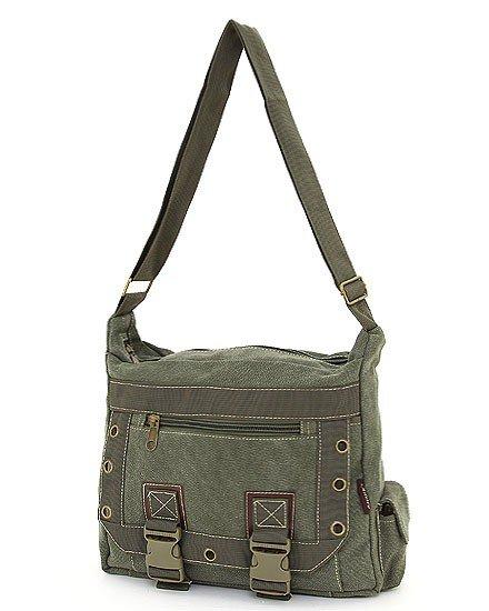 SOLID PATTERN MESSENGER BAG (GREEN)