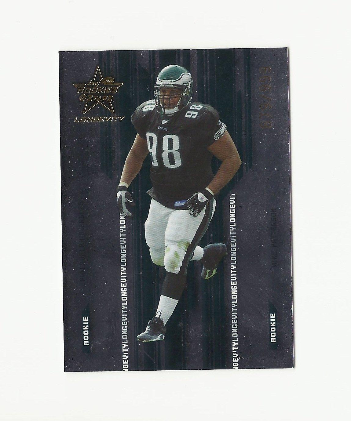 Mike Patterson 2005 Leaf Rookies/Stars Longevity Serial Numbered Rookie #110 Philadelphia Eagles