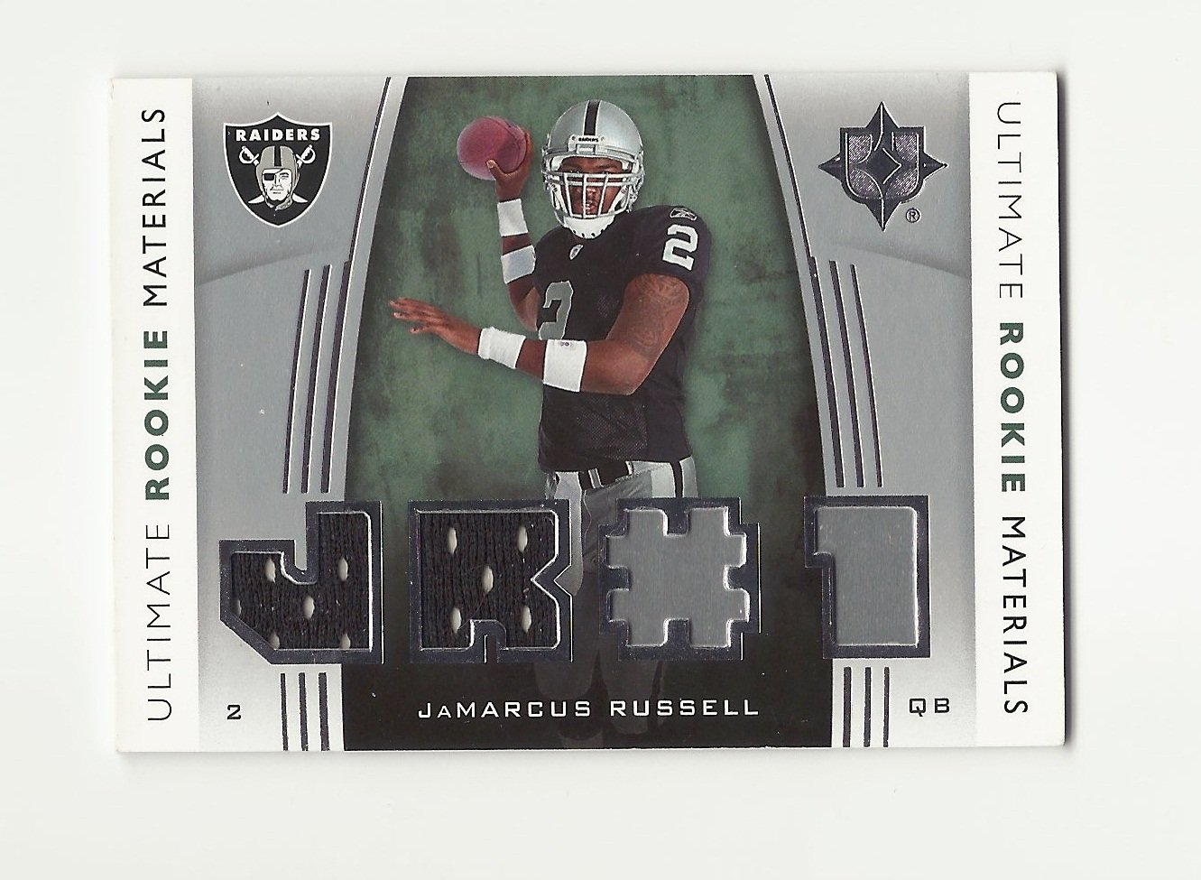 JaMarcus Russell 2007 Upper Deck Ultimate Rookie Materials JERSEY Rookie #URM-JR Oakland Raiders