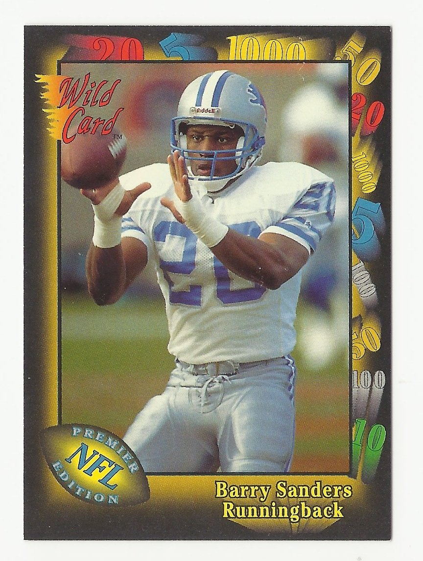 Barry Sanders 1991 Wild Card NFL Premiere Edition Single Card #89 Detroit Lions