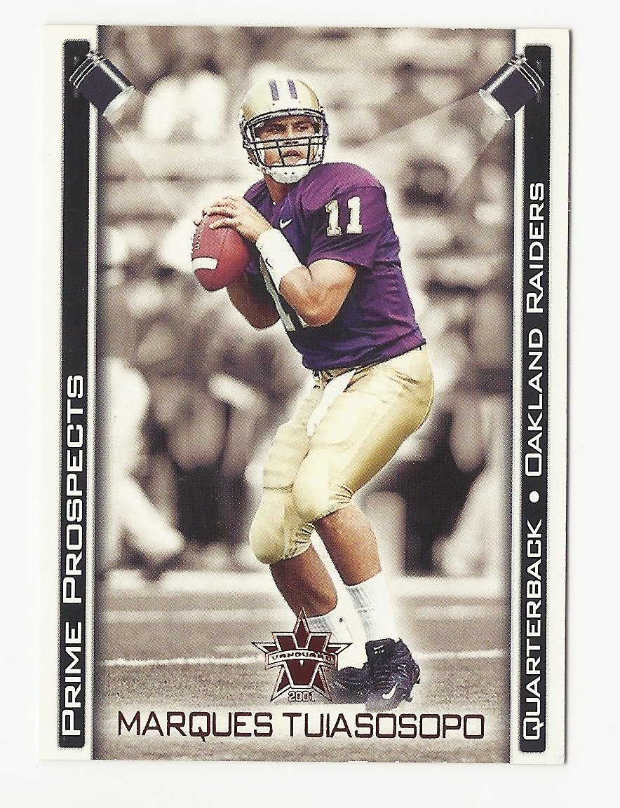 Marques Tuiasosopo 2001 Pacific Vanguard Prime Prospects Rookie Card #24 Oakland Raiders