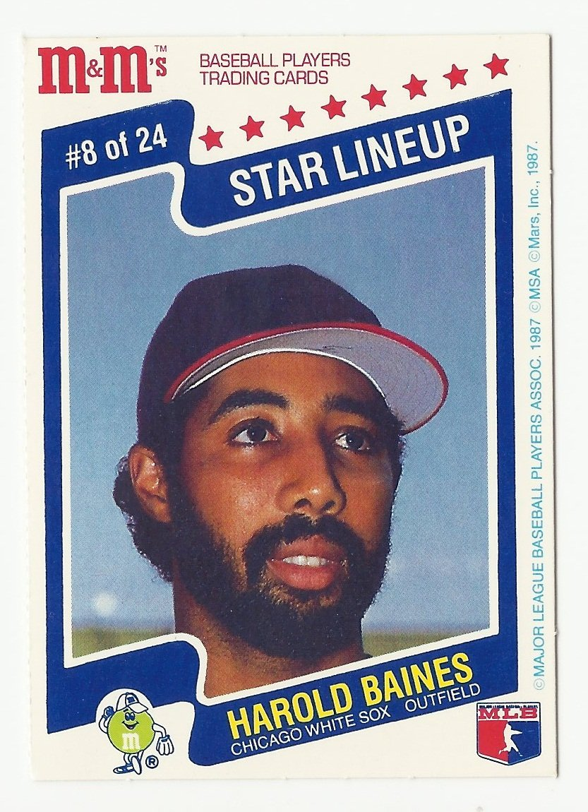 Harold Baines 1987 M&Ms Star Lineup Card #8 Chicago White Sox