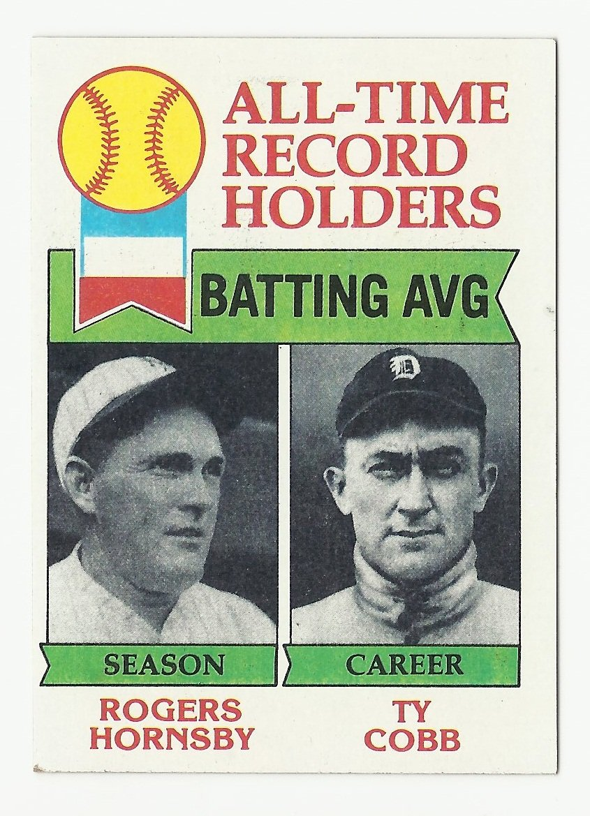 Rogers Hornsby/Ty Cobb 1979 Topps All-Time Record Holders #414 St. Louis Cardinals/Detroit Tigers