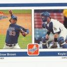 Andrew Brown/Koyie Hill 2004 Fleer Platinum Rookie Card #191 Los Angeles Dodgers