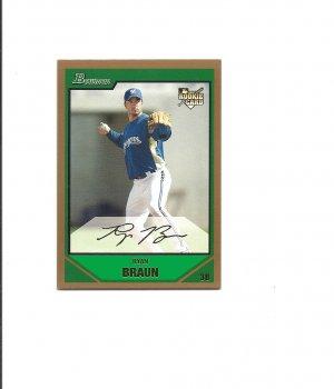 Ryan Braun 2007 Bowman Gold Draft Picks Rookie Card #BDP50 Milwaukee Brewers