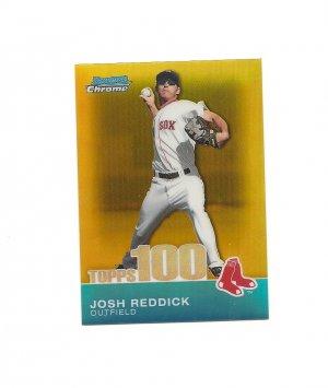 Josh Reddick 2010 Bowman Chrome Topps 100 Prospects Gold #98 (34/50) Boston Red Sox