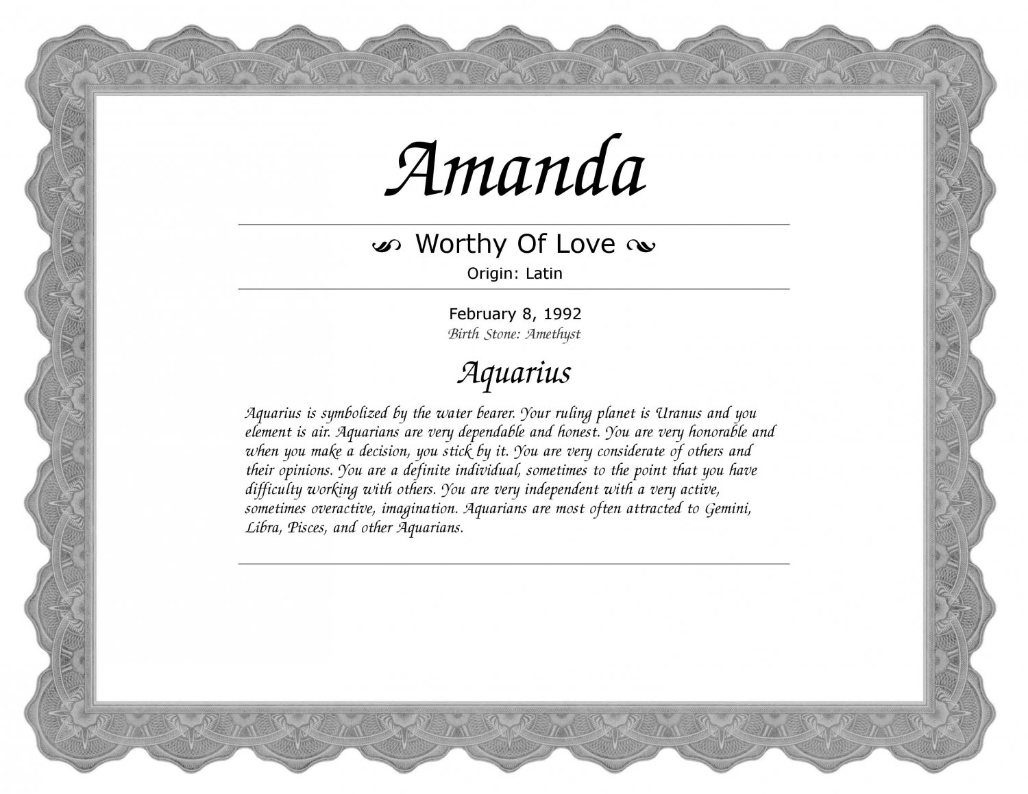 Name Meaning Certificate