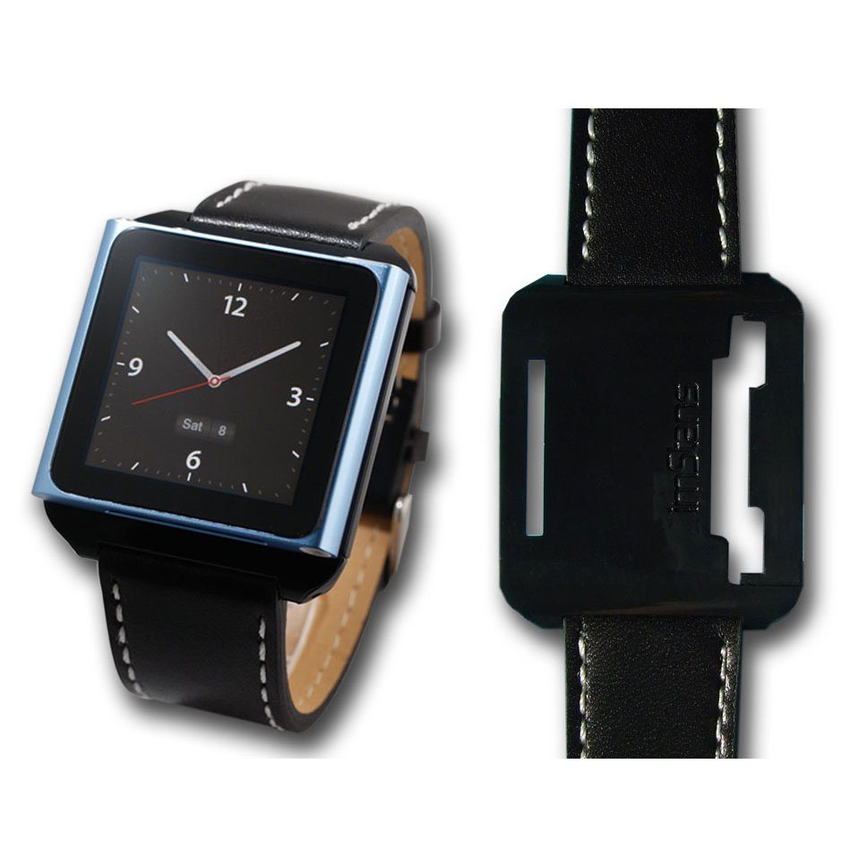 imStans watch band for iPod Nano 6 -black leather strap