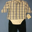 Lullaby Club Baby Blue Check Bodysuit Top & Pant Set - size 9m