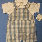 Lullaby Club Baby Blue Check Romper & Top Set - size 9m