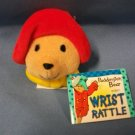 "Paddington Bear Soft 2"" Baby Plush Wrist Rattle Eden Toys 1997 Red Hat"