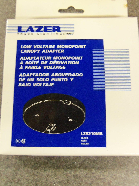 Halo Lazer Track Lighting Low Voltage Monopoint Canopy Adapter - Black - Set of 4 & Halo Lazer Track Lighting Low Voltage Monopoint Canopy Adapter ...