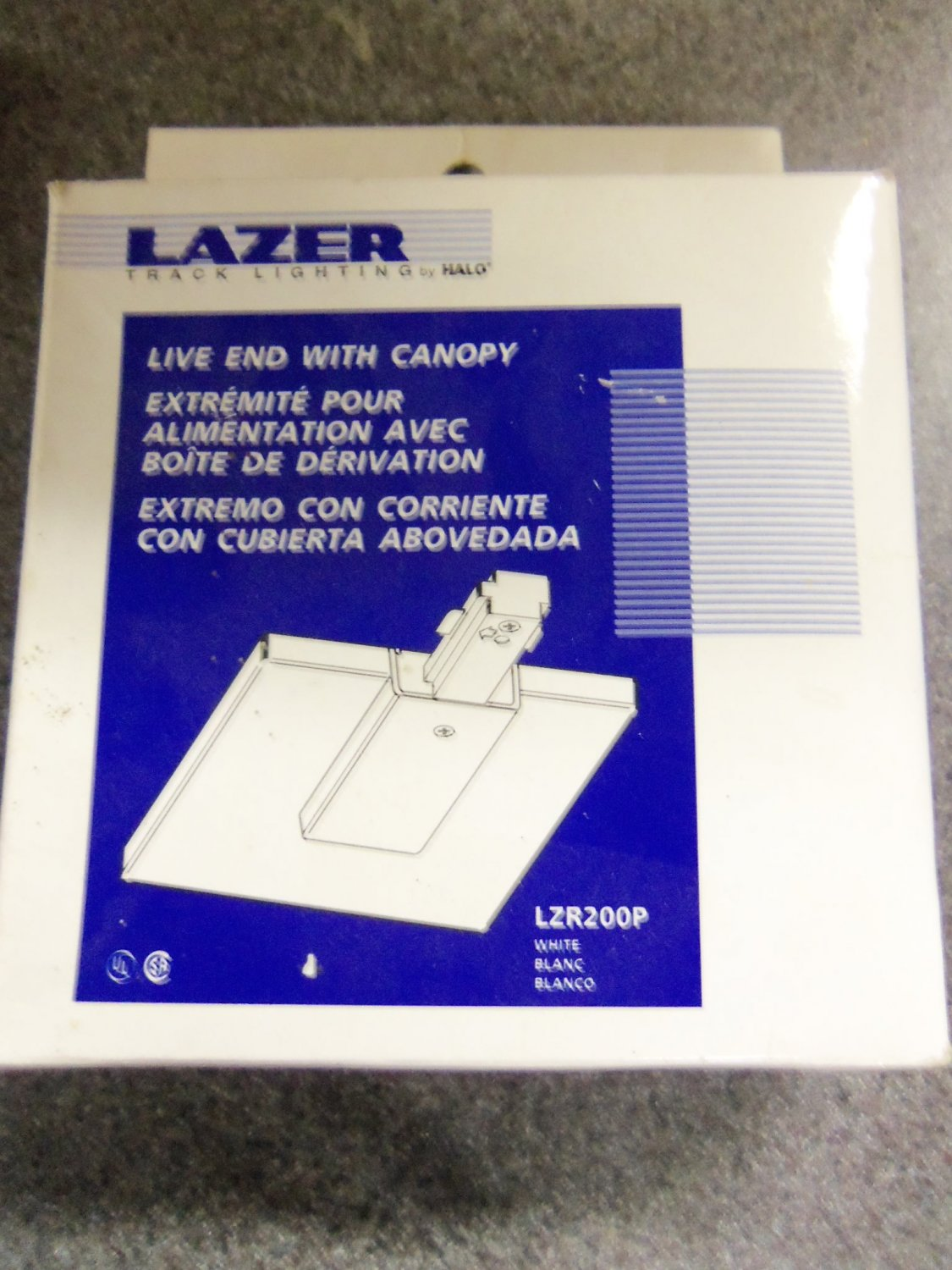 & Halo Lazer Track Lighting Live End with Canopy - White - Set of 3