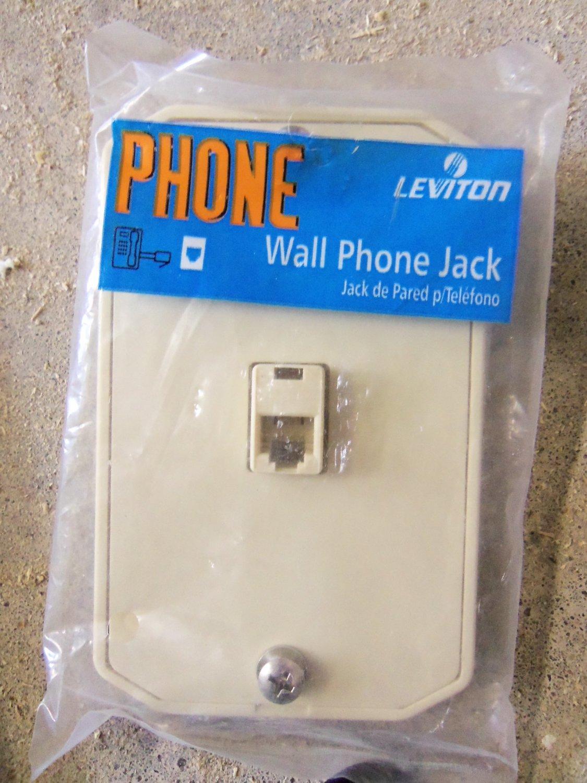 Leviton Wall Phone Jack Plate Lot of 2 - Almond