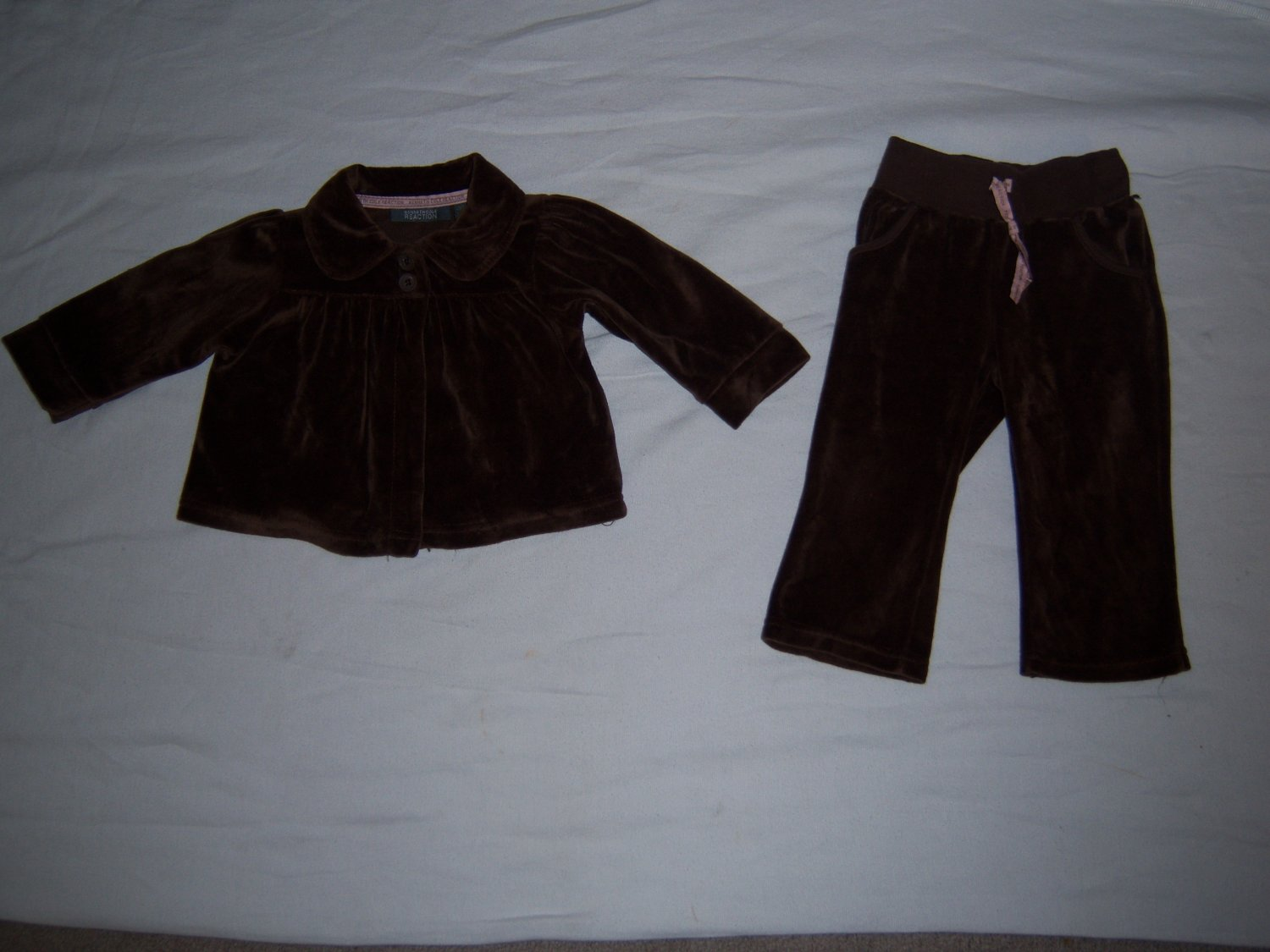 Kenneth Cole Infant Baby Girl's Brown Velour Pants Set 12 M
