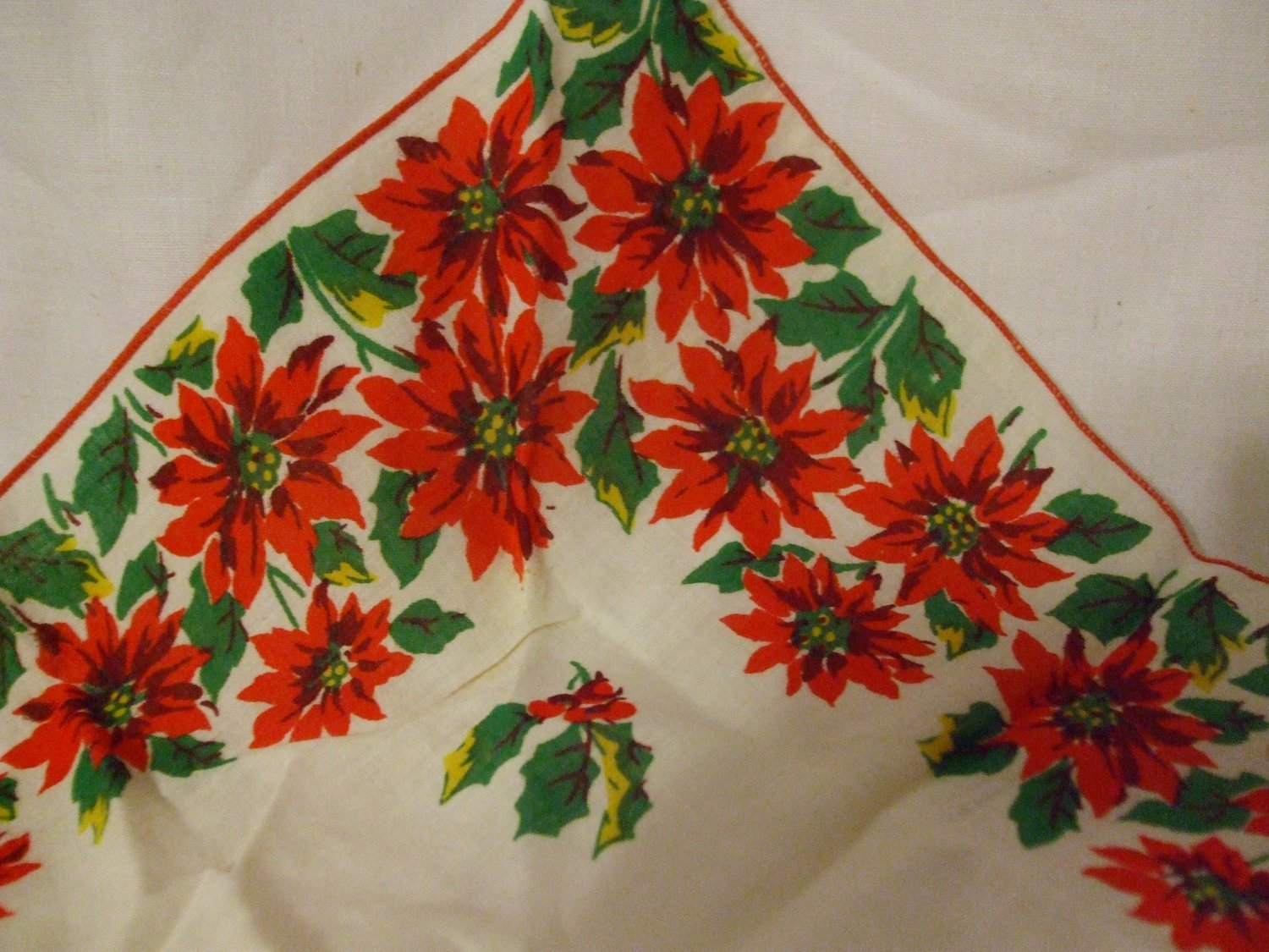 Vintage Christmas Handkerchief with Poinsettia's and Holly Berries