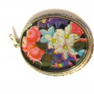 Siver Toned Pendant with Flowers under Glass with Silver tone painting of outline of Flowers