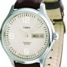 Timex 25981 Mens Silver-Tone Dress Watch with Brown Genuine Leather Band
