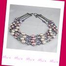 Multi Strand Feminine Faux Pearl 46cm Collar Necklace (zz.117)