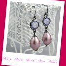 Purple Faux Pearl 4cm Drop Earrings (zz.118)
