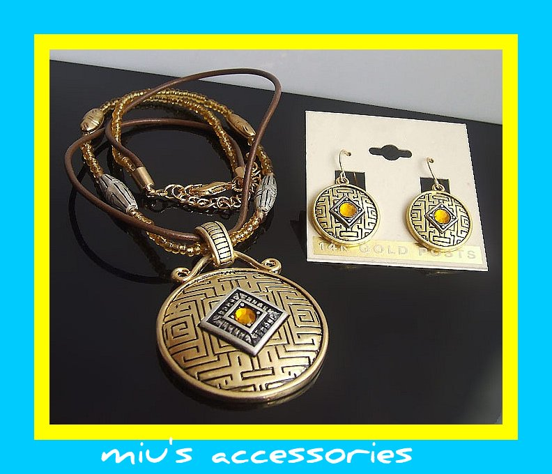 Miu's Ancient Coin Image Leather & Beaded String Jewelry Set (mis.23)
