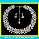 Miu's Glisten Rhinestone Wedding Gown Necklace + Earrings Jewelry Set (mis.w1)