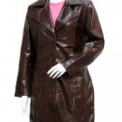 Beautiful Long Length Dark Brown Leather Coat For Women - Uzziah