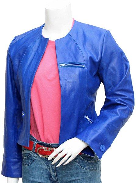 Collarless Women's Blue Leather Jacket - Sinipin