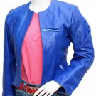 Collarless Women's Blue Leather Jacket - Sinipin